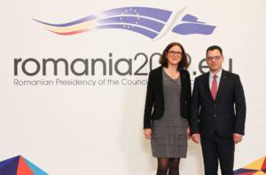 Cecilia Malmström și ministrul Ștefan-Radu Oprea