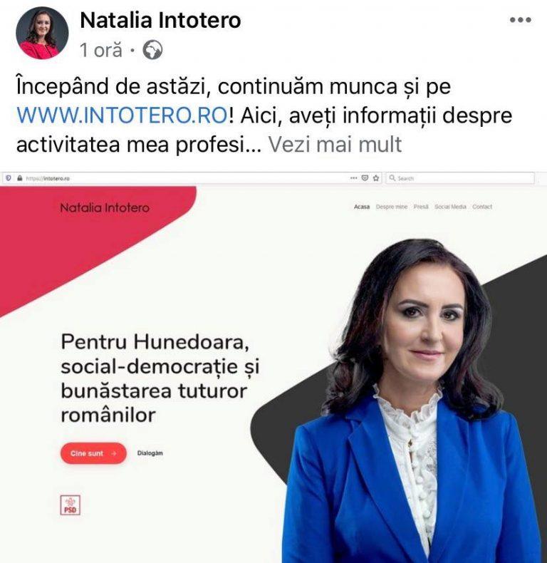 Deputatul PSD Natalia Intotero și-a lansat un site despre activitatea sa