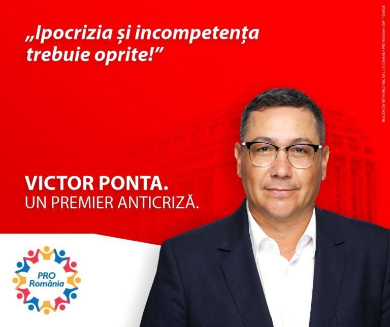 """Ponta se autopropune """"premier anticriză"""""""