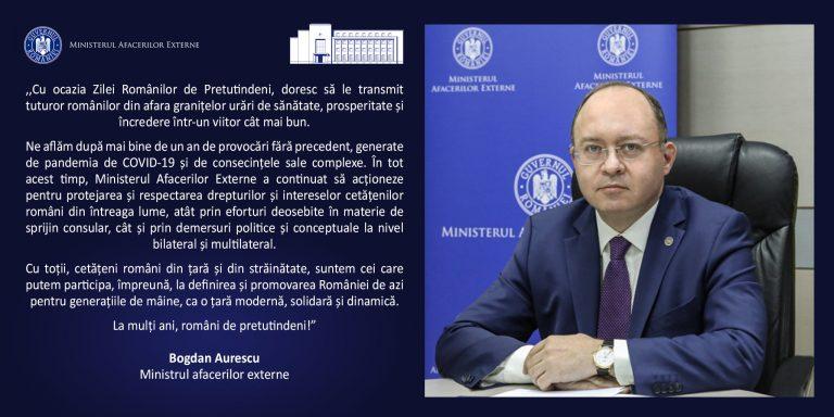 Bogdan Aurescu(MAE), mesaj de Ziua Românilor de Pretutindeni: Împreună vom reuși să contribuim la bunăstarea și prosperitatea comunităților de români din străinătate